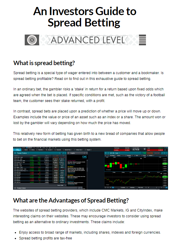 An investors guide to spread betting