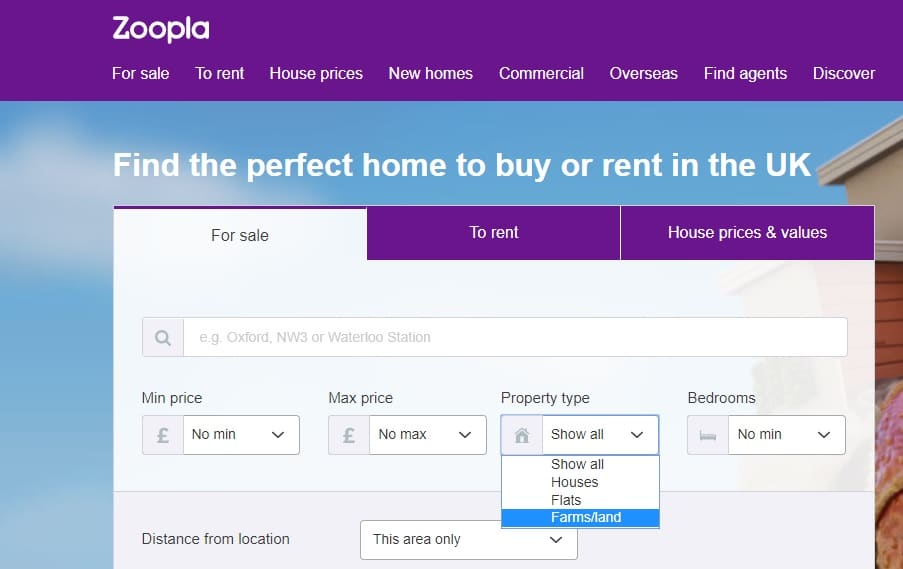 You can find land for sale on Zoopla