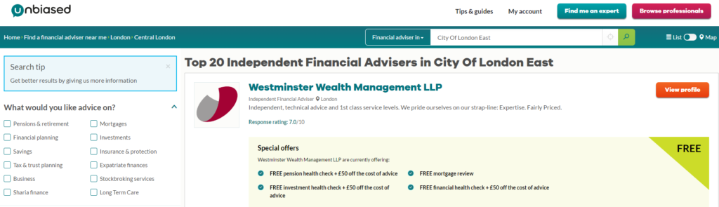 Find a financial adviser - portal