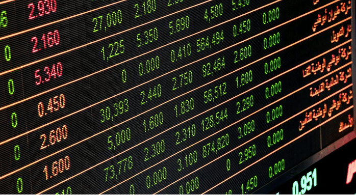 Ticker symbols writing for investments.